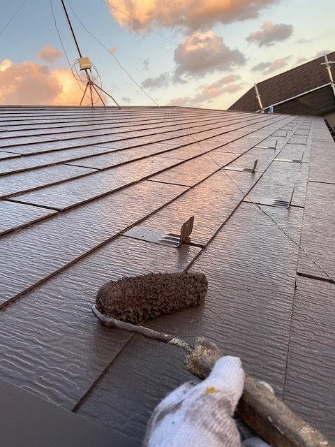 屋根塗装 コロニアル 上塗り プラチナ無機ルーフ