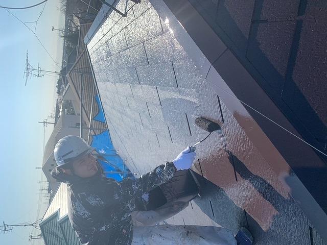 屋根塗装 スレート瓦 上塗り プラチナ無機ルーフ