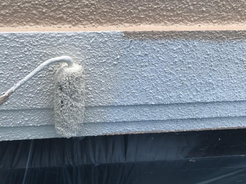 外壁塗装 中塗り モルタル 幕板 プラチナ無機バインダー