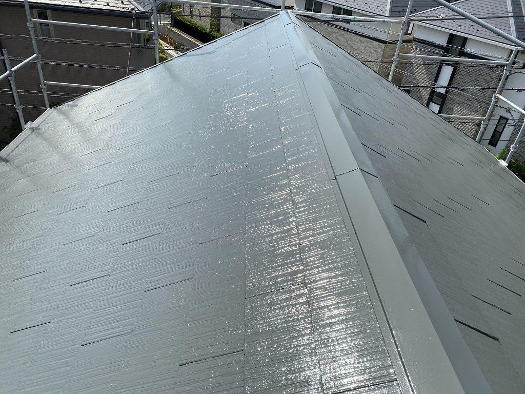 屋根塗装 新生スレート瓦 3回塗り 上塗り サーモアイSi