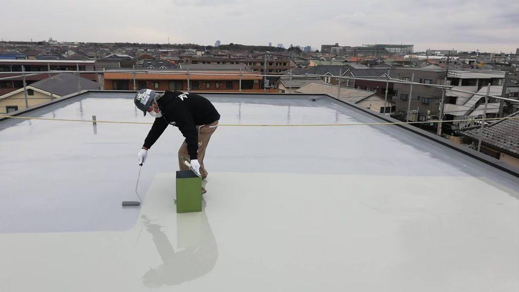 屋上防水 折板屋根 上塗り トップコート