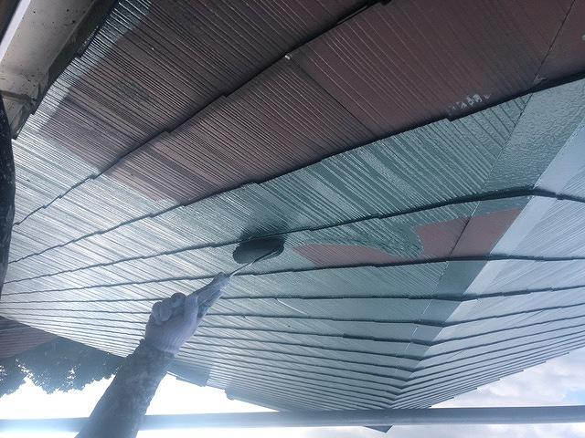 屋根塗装 新生スレート瓦 2回塗り セミフロンルーフバインダーSiⅡ