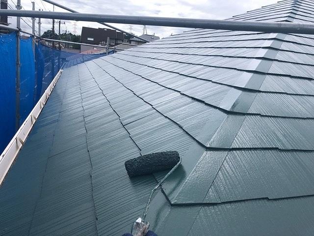 屋根塗装 新生スレート瓦 2回塗り 上塗り セミフロンスーパールーフⅡ