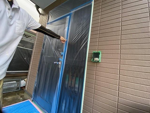 養生 保護 外壁塗装 窯業サイディング 付帯部塗装