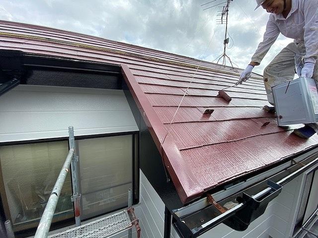 屋根塗装 新生スレート 4回塗り 上塗り サーモアイSi
